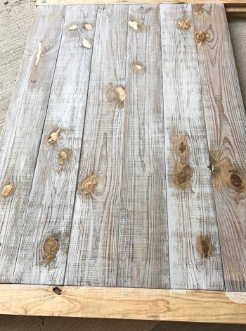 weathered wood, gold, shiplap headboard