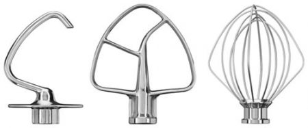 kitchenaid stainless steel bread hook, beater, and whisk